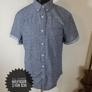 Tommy Hilfiger short sleeve button down Polka Dot